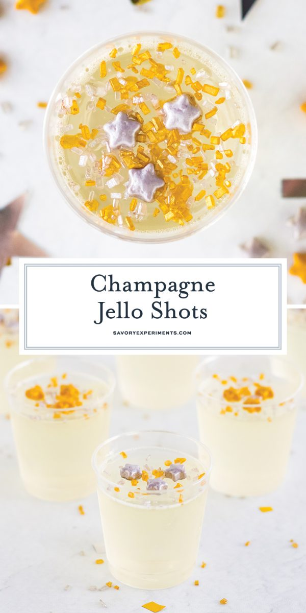close up of champagne jello shots for pinterest