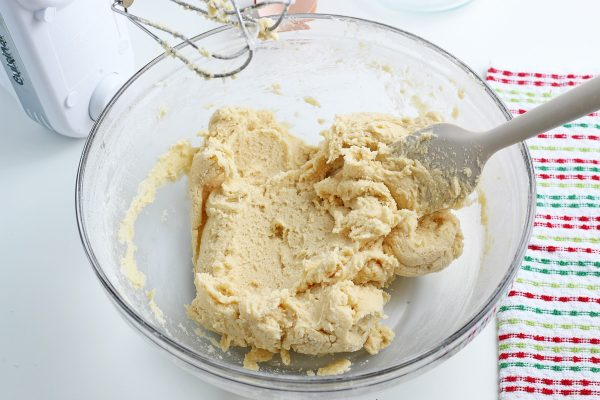 sugar cookie bar dough in a mixing bowl