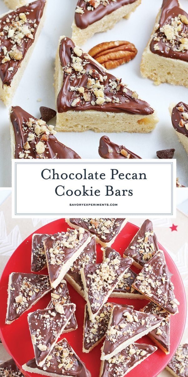 chocolate pecan cookie bars for pinterest