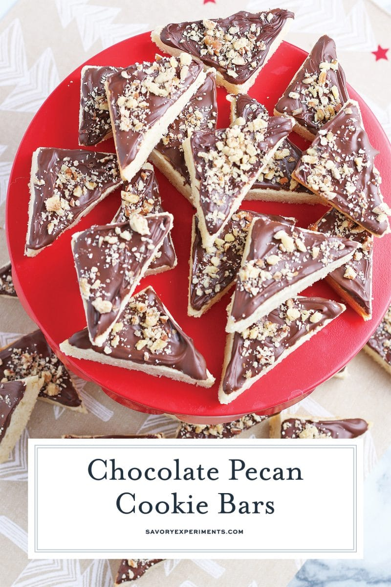 red platter with chocolate pecan bars