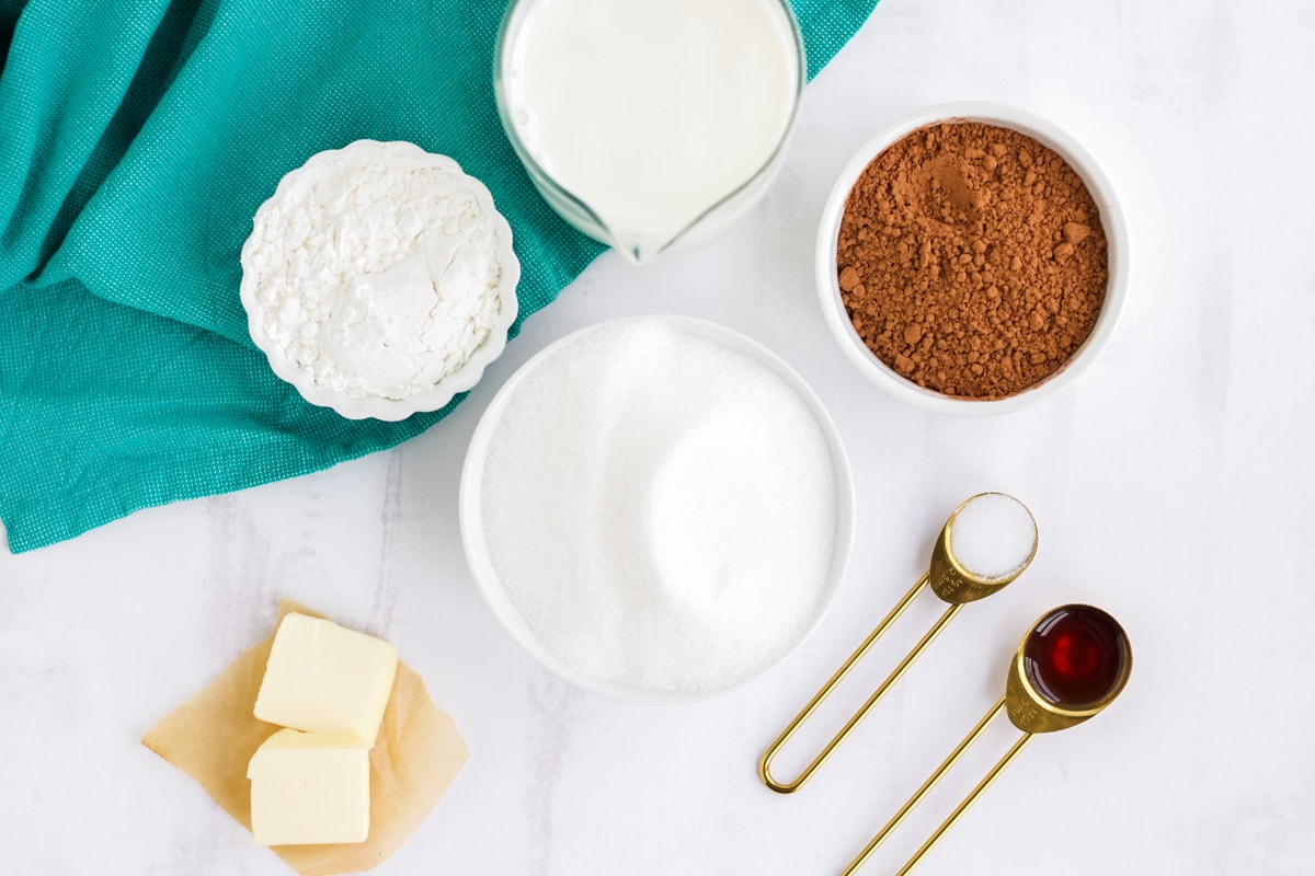 ingredients for homemade chocolate pudding