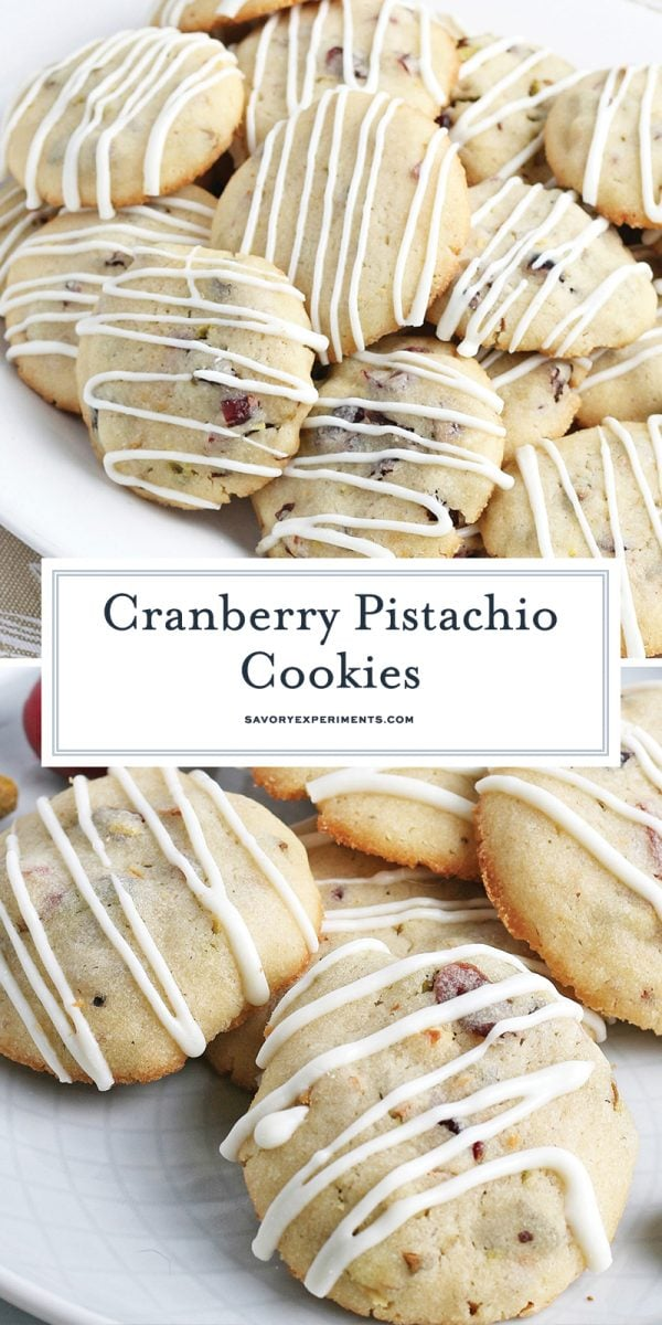 With classic Christmas colors of red & green, these Cranberry Pistachio Cookies are great for the holidays! Add them to your cookie trays! #cranberrypistachiocookies #christmascookies www.savoryexperiments.com