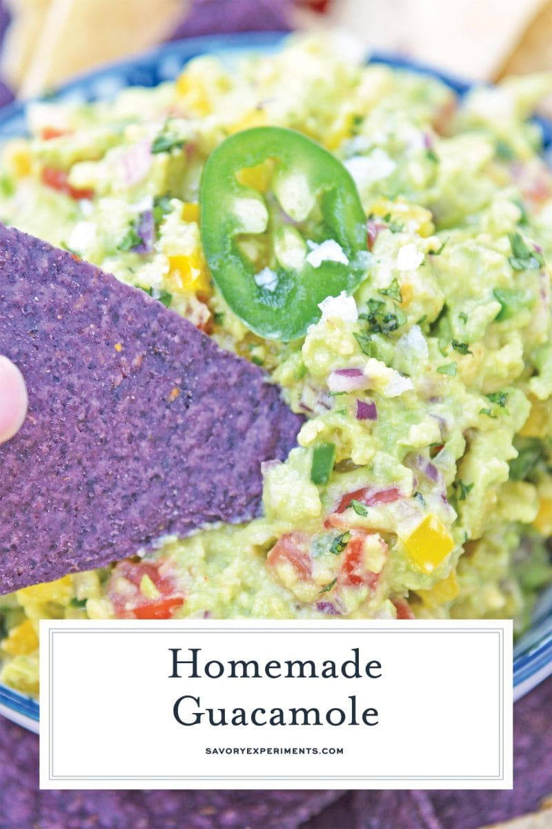 close up of guacamole for pinterest