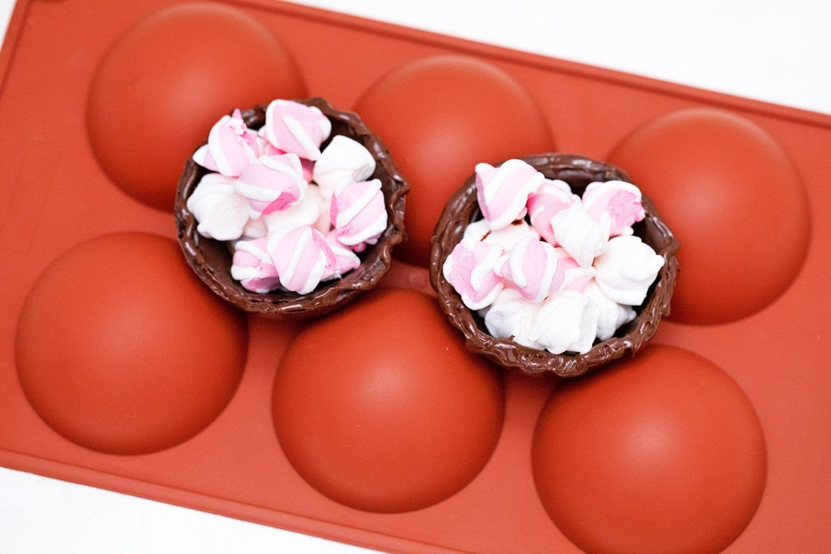 filling hot chocolate bomb molds