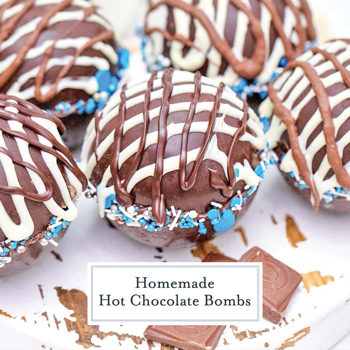close up of drizzled hot chocolate bombs