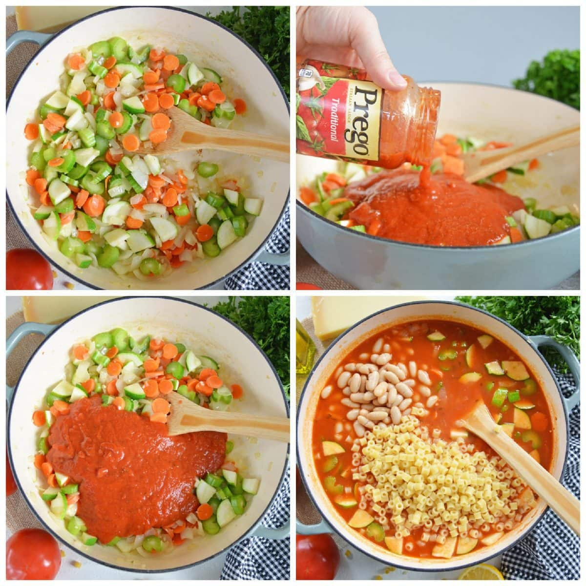 step by step photos of how to make minestrone soup