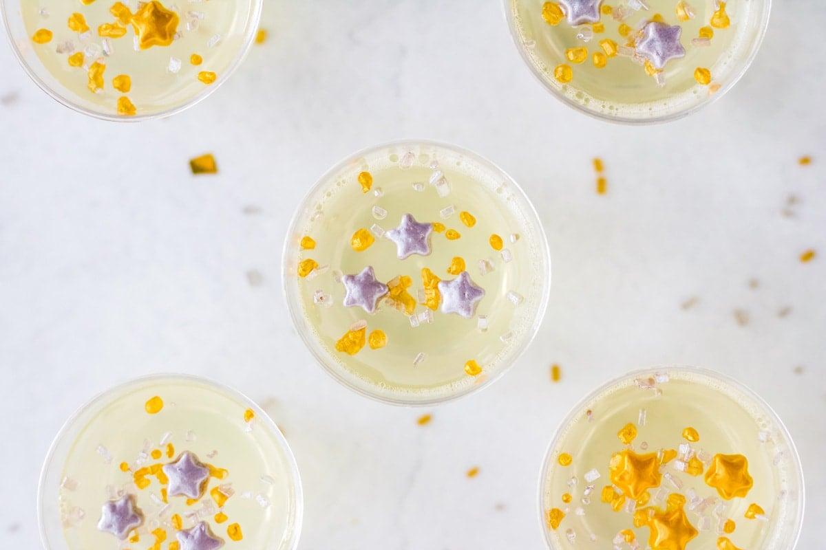 overhead of champagne jello shot