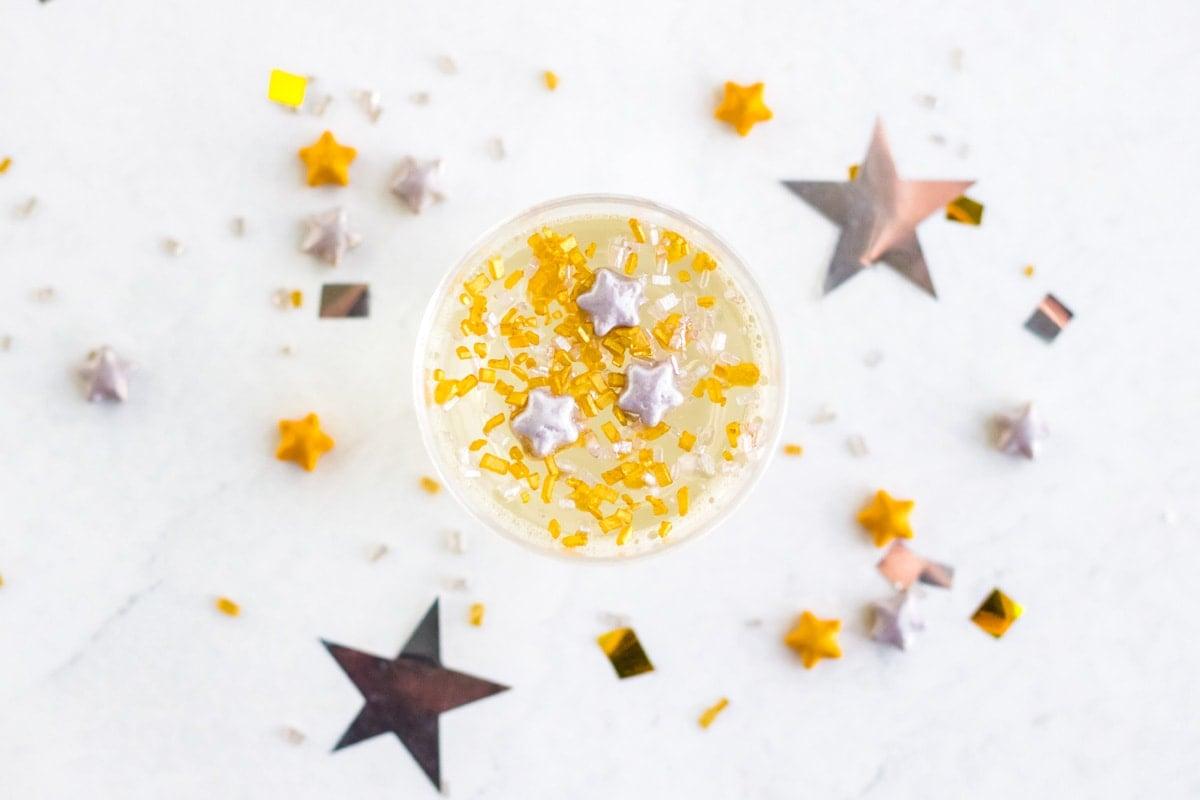 overhead of New Years jello shot