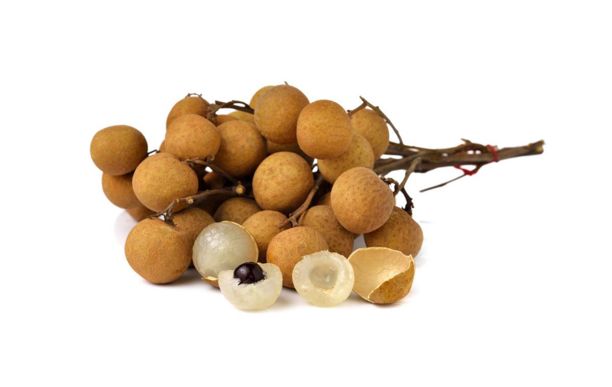longan fruit on a branch and cut open with a pit