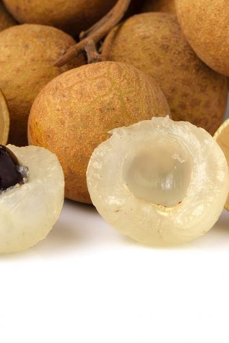 close up of longan fruit