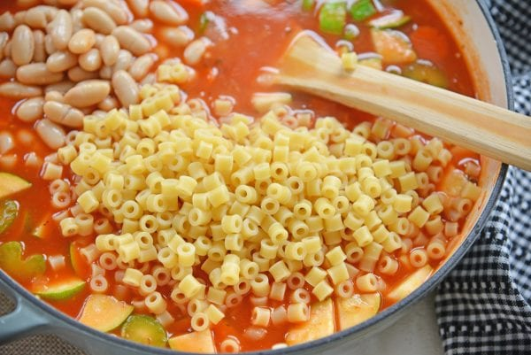 pasta and beans in minestrone soup