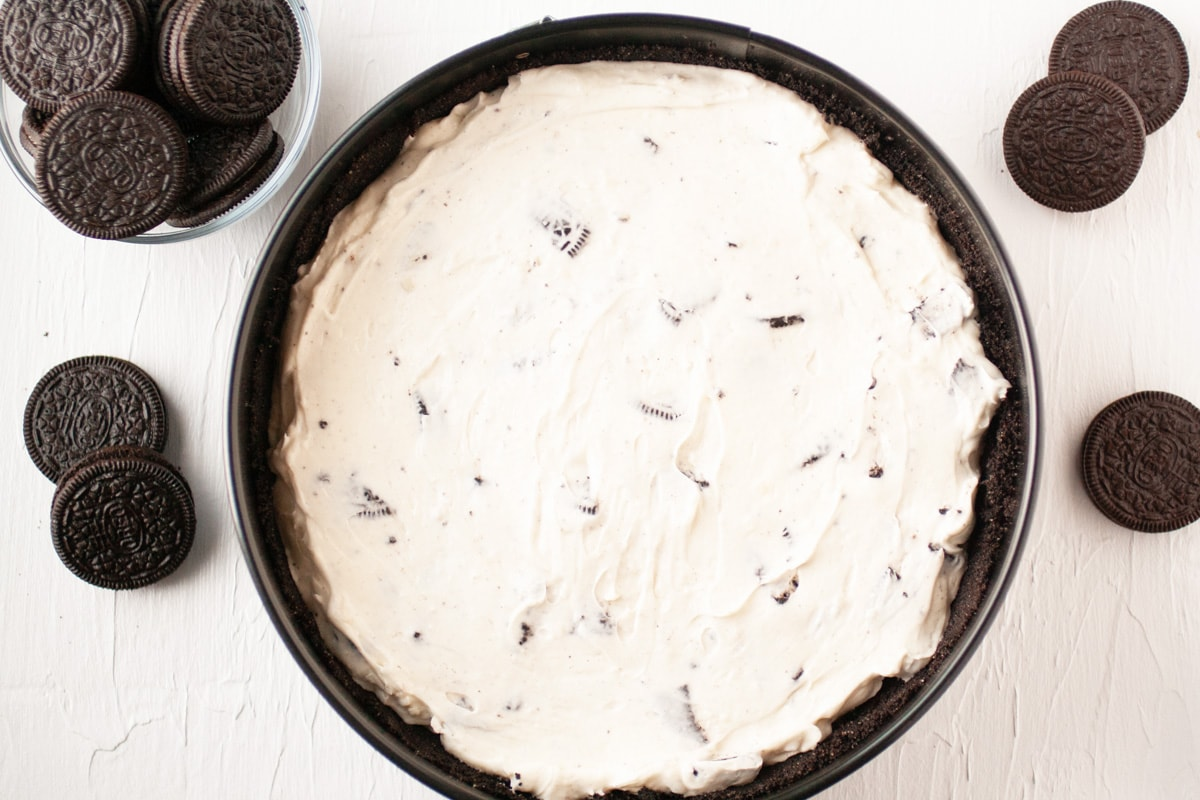 no bake oreo cheesecake filling in crust