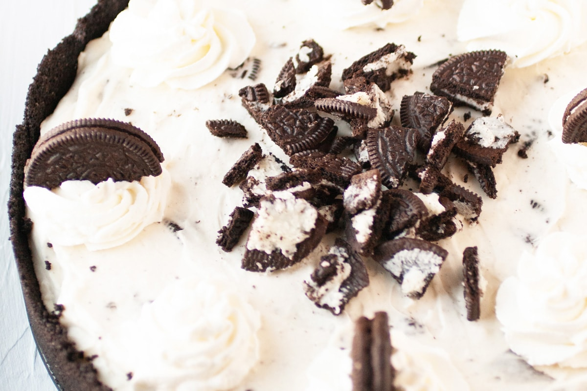 close up of decorated oreo cheesecake