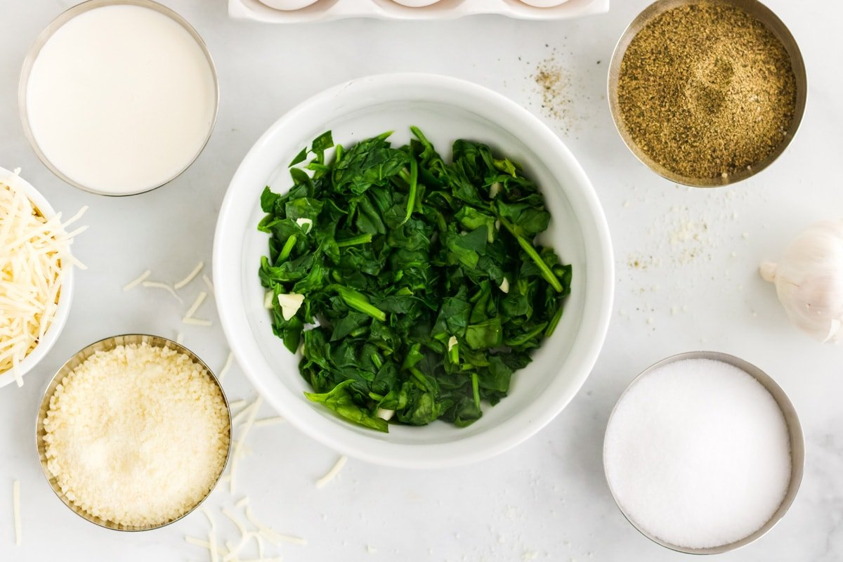 fresh spinach and other ingredients