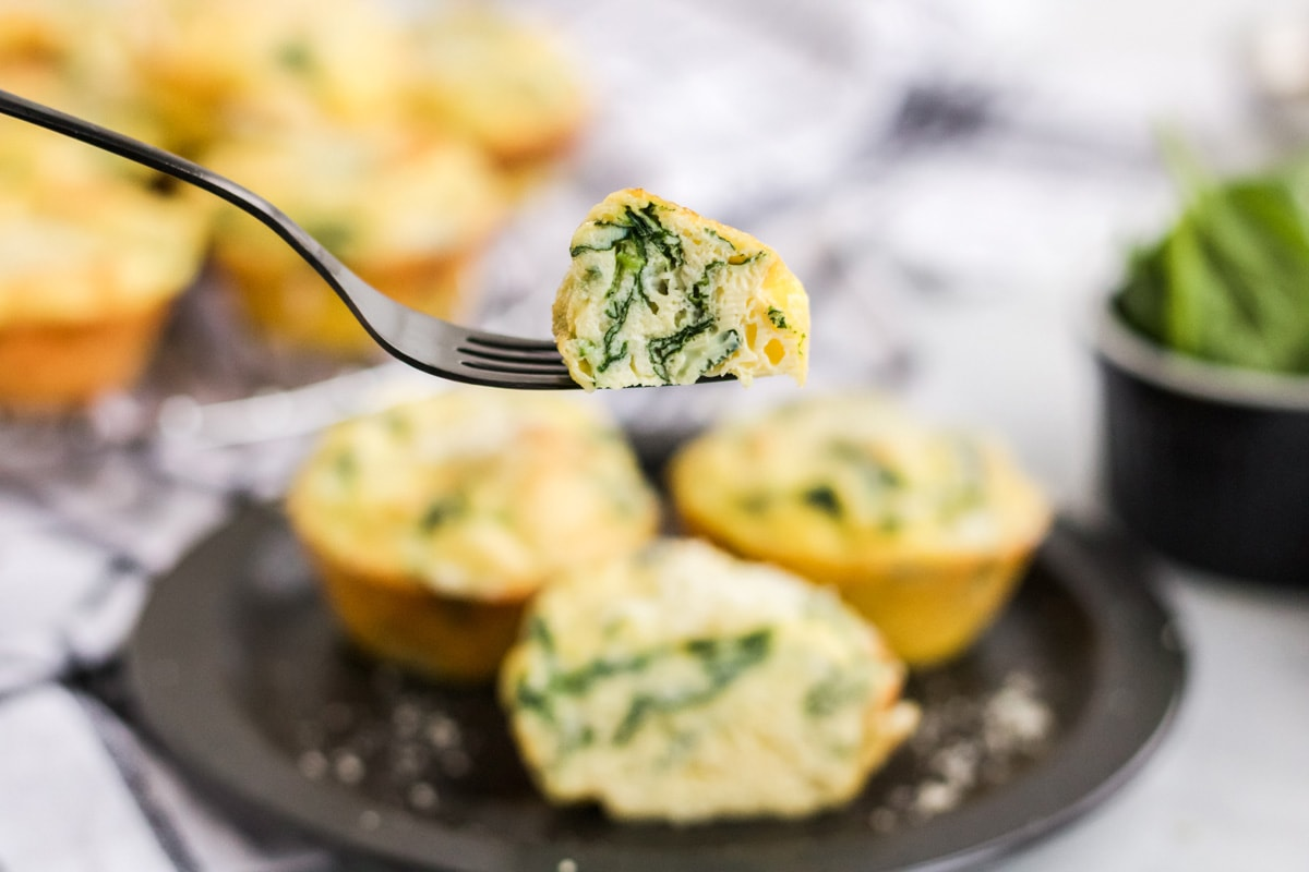 fork with a bite of spinach egg muffin