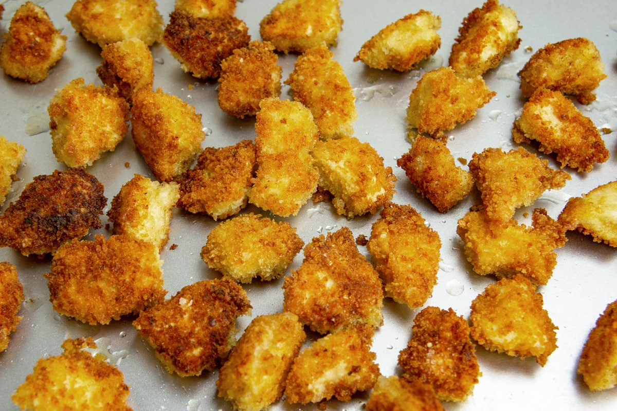 platter of fried chicken nuggets