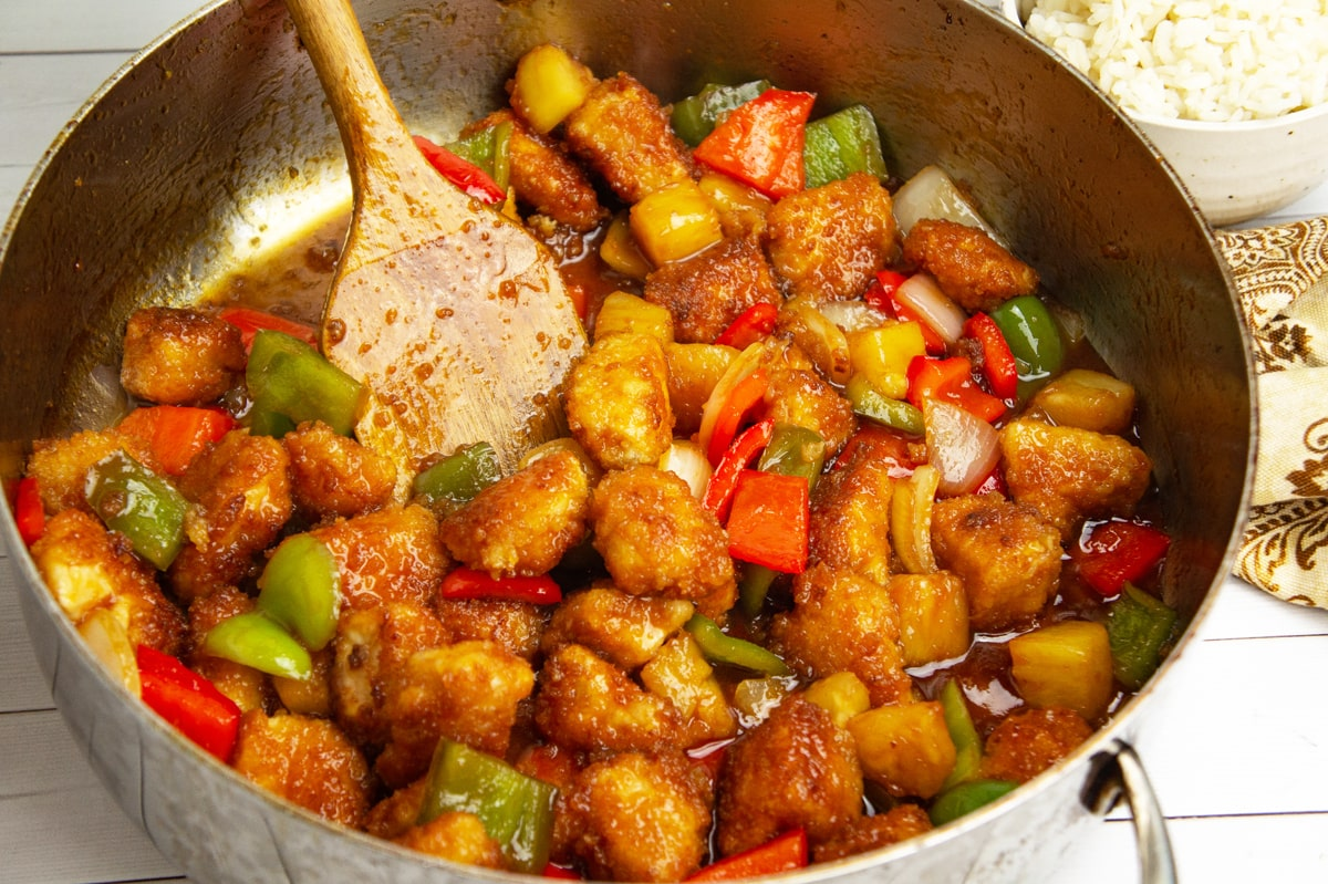 sweet and sour chicken in a skillet