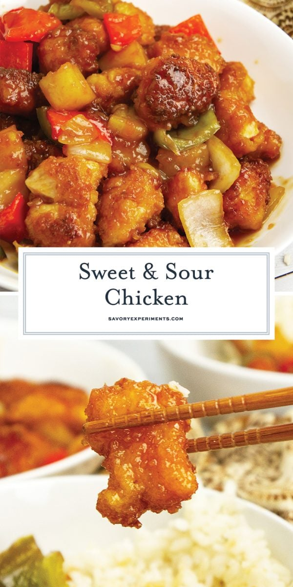 close up of sweet and sour chicken for pinterest