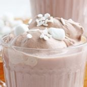 close up of whipped hot chocolate
