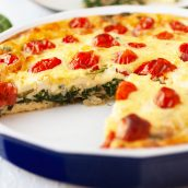angle view of crustless spinach quiche