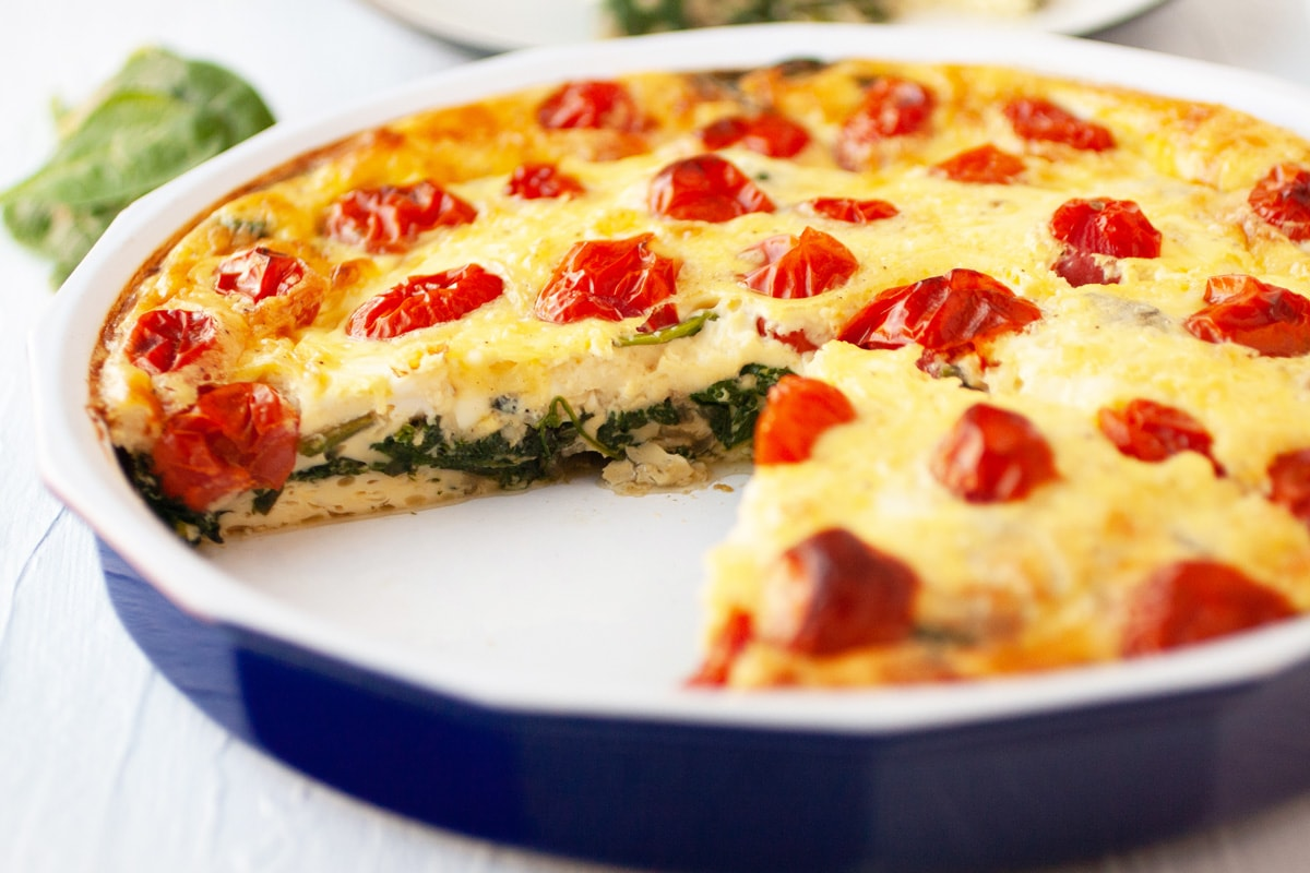 cross sectional view of spinach quiche