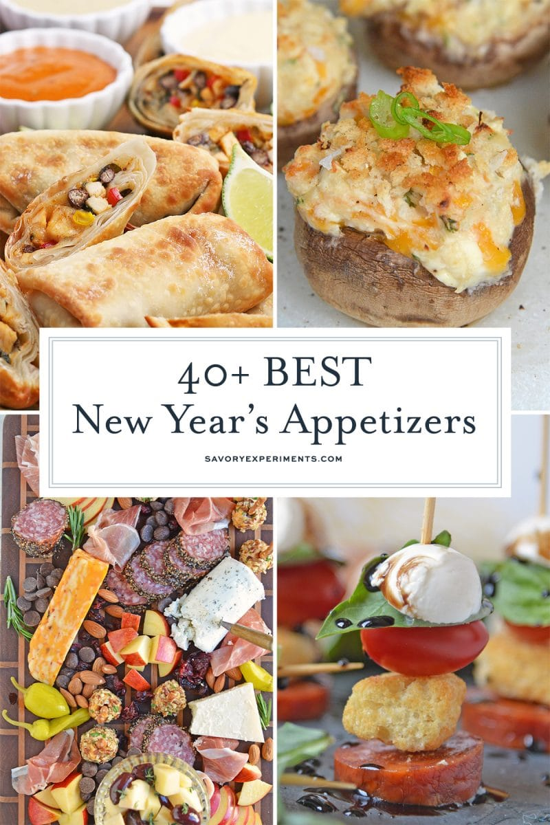 collage of New Year's Eve appetizers