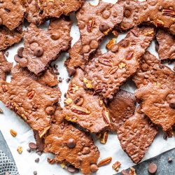 broken pieces of brownie brittle on a table