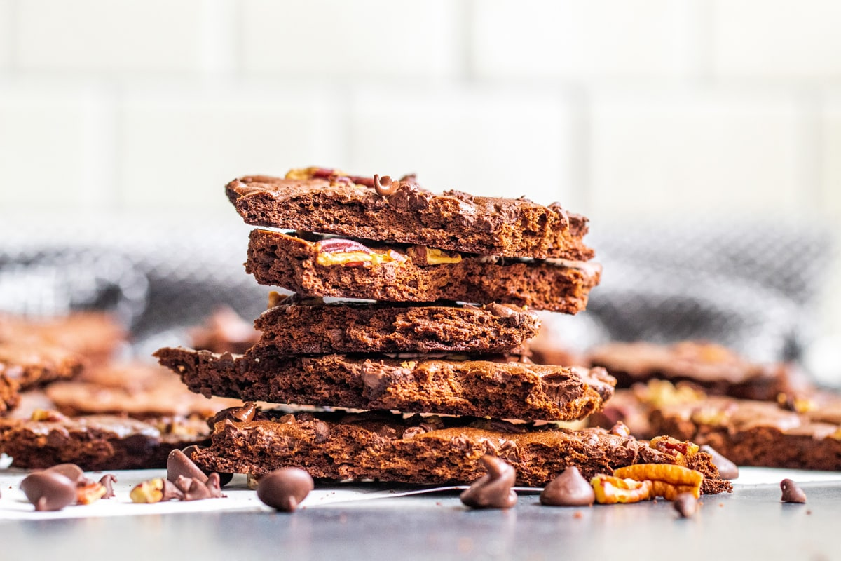 cross sectional view of brownie brittle stack