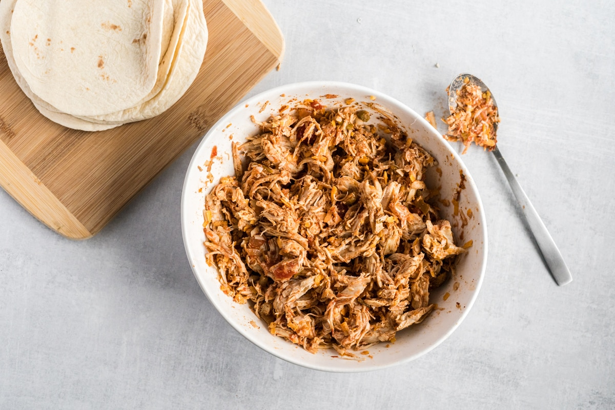 chicken taquito filling in a bowl