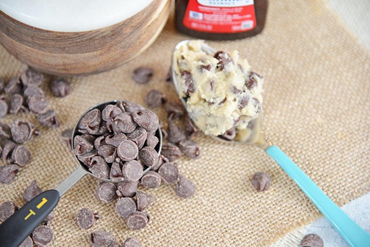 chocolate chips on burlap