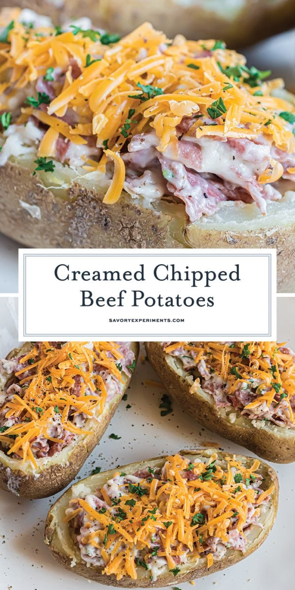 close up a of a long pin of creamed chipped beef stuffed potatoes