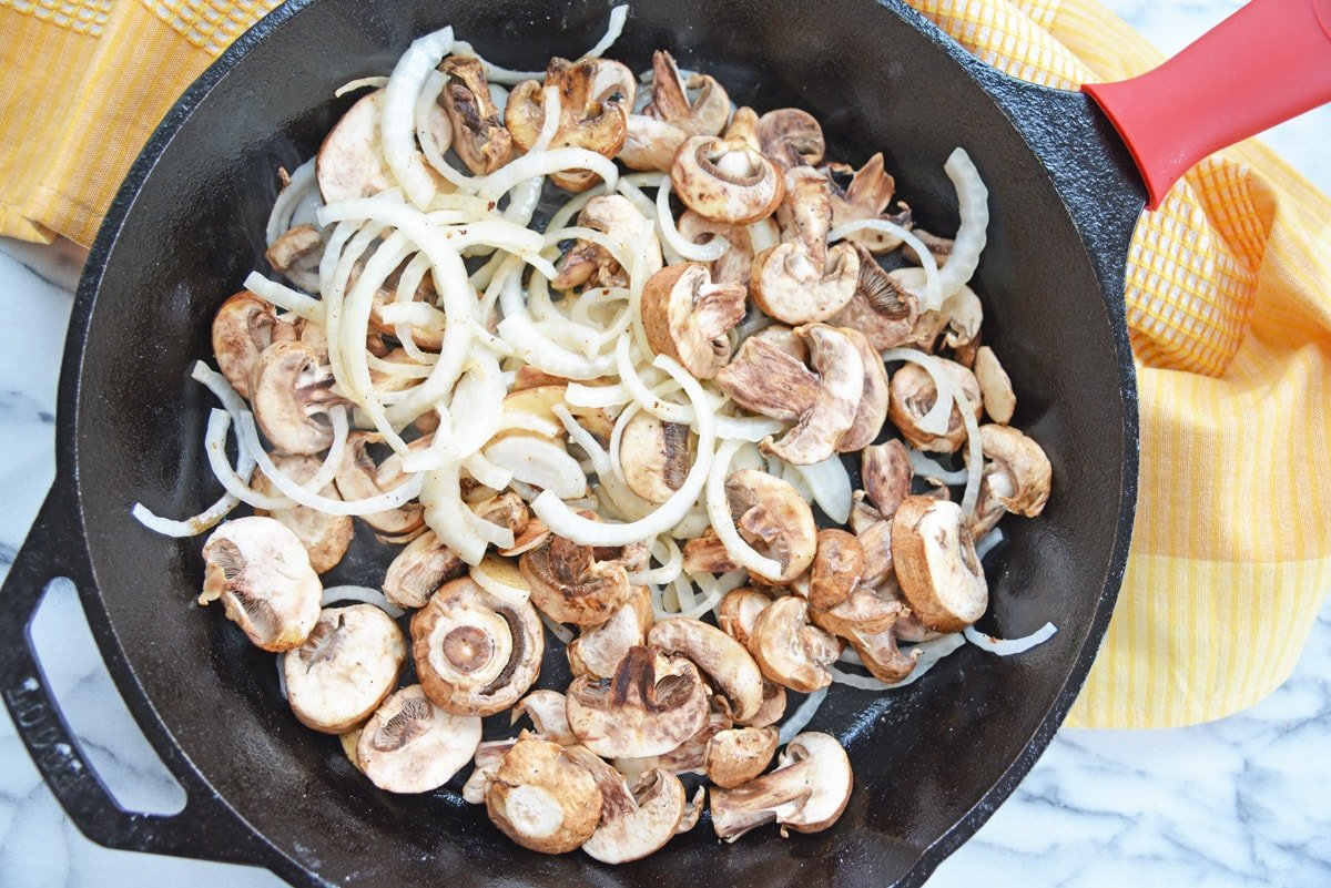 sauteing mushrooms and onions