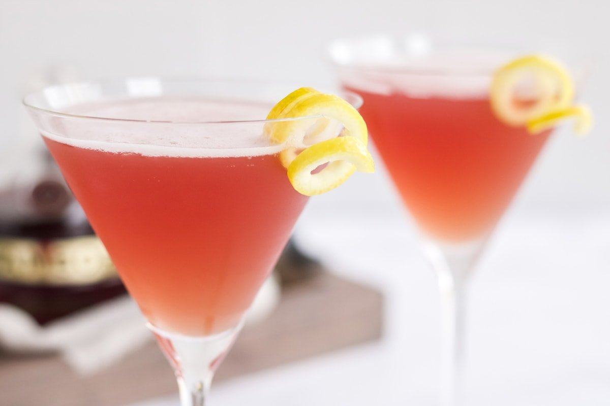 side view of garnished french martinis