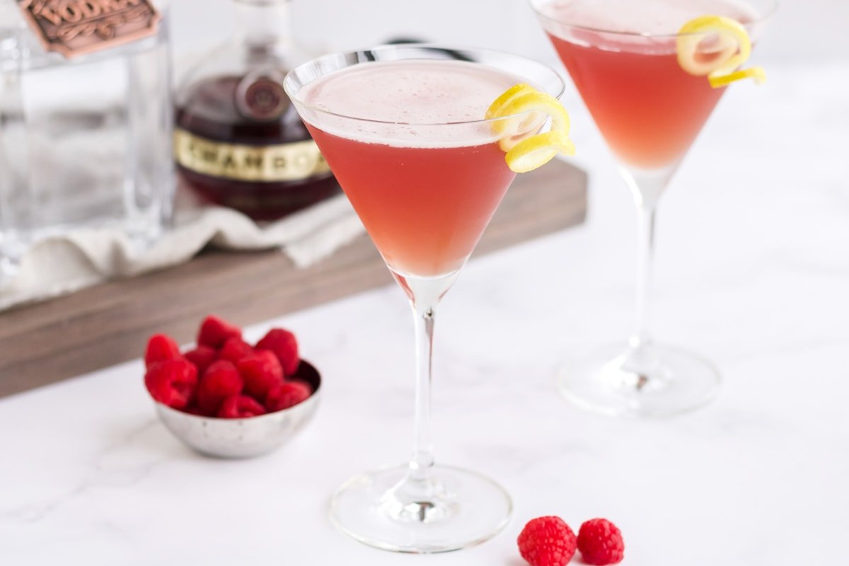 french martinis with ingredients and garnishes