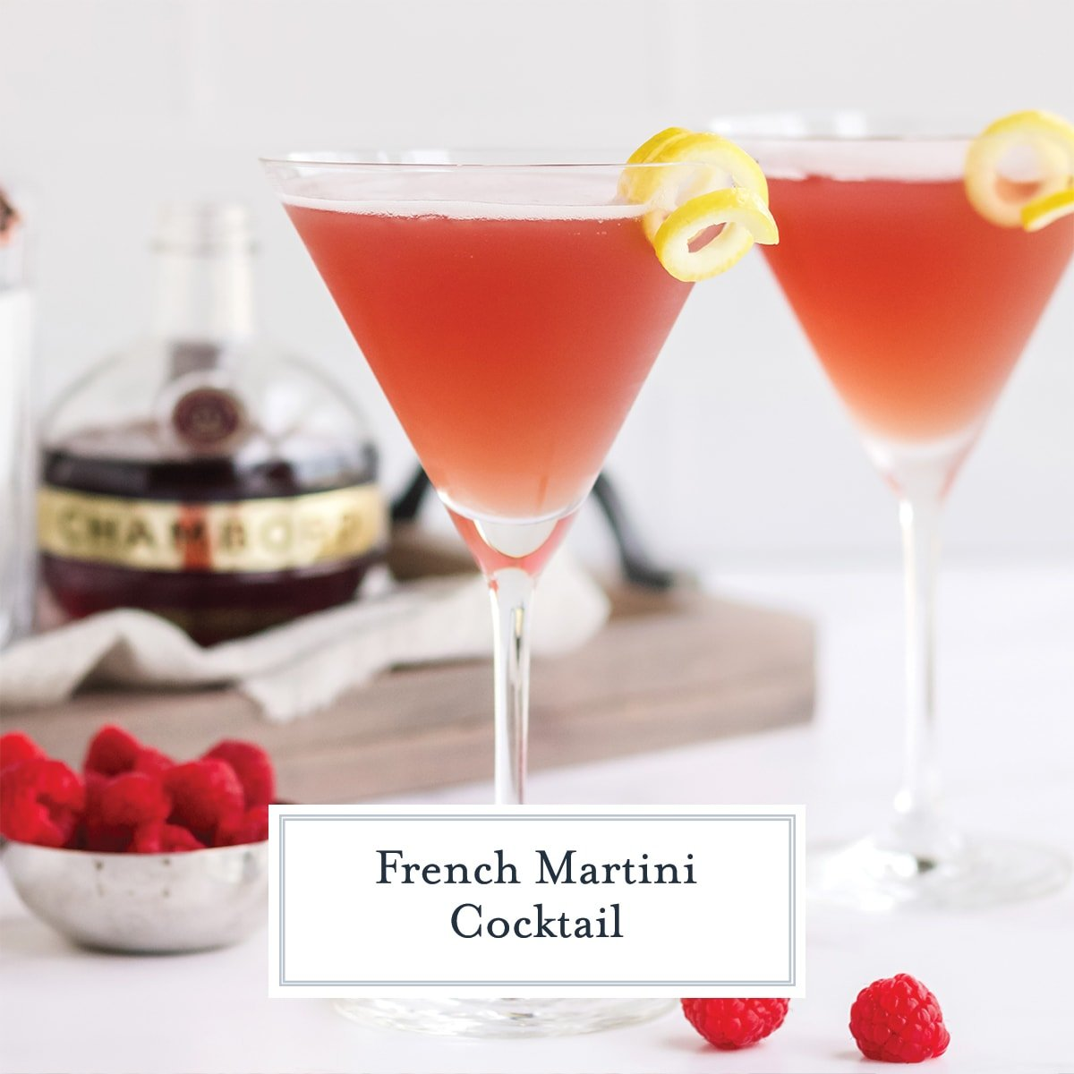 french martini kiss in a martini glass with lemon twist