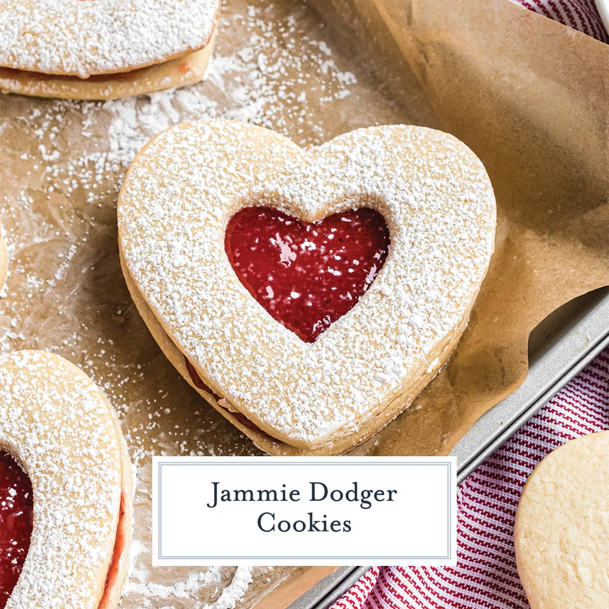 Close up of heart shaped jam cookie