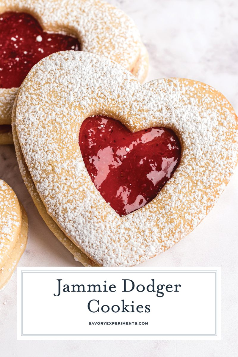 close up strawberry jam cookie for pinterest