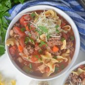 overhead bowl of pasta e fagioli soup