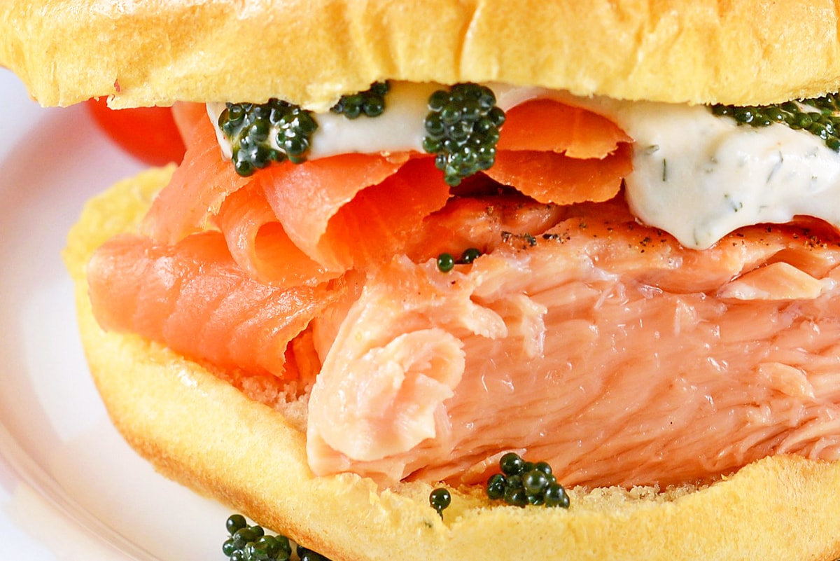 close up of salmon sandwich