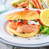 angle view of salmon sandwich