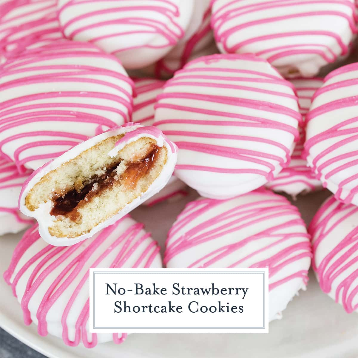 close up of no bake strawberry shortcake cookies with one biten