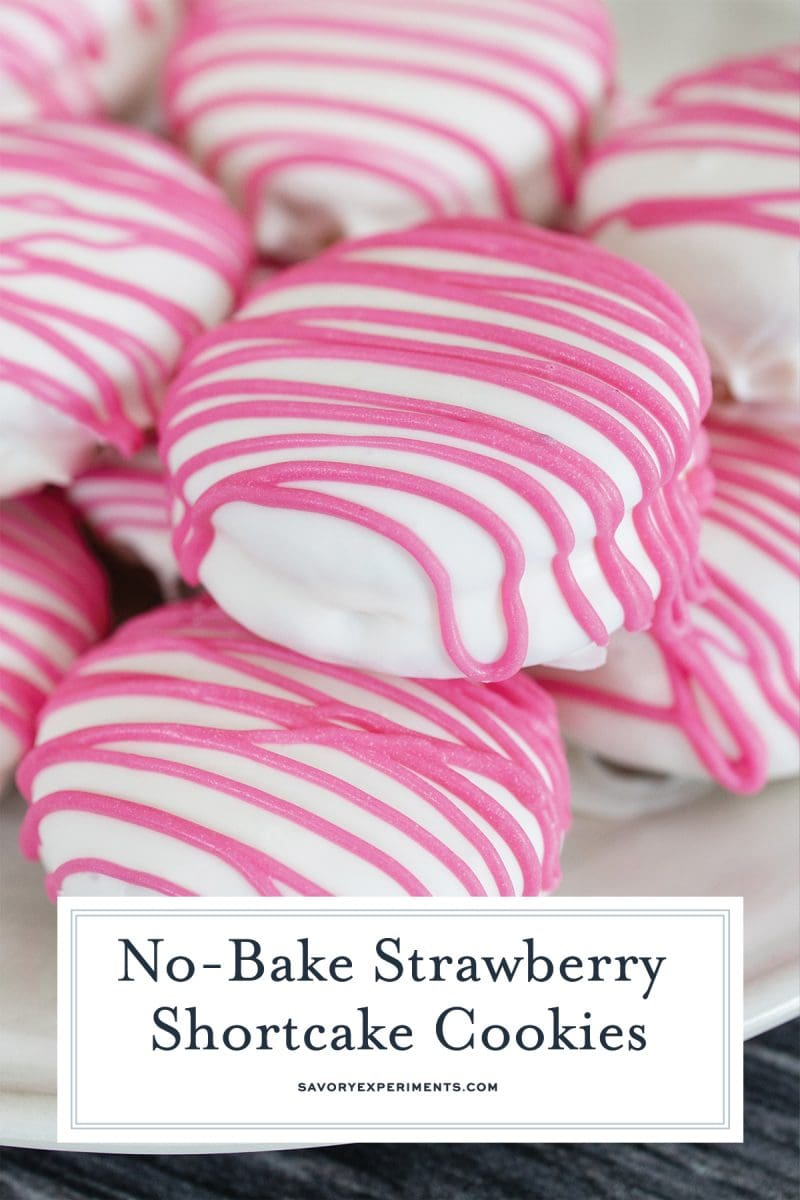 close up of strawberry shortcake cookies for pinterest