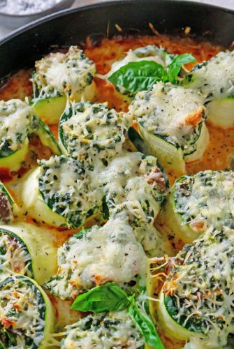 overhead of zucchini lasagna