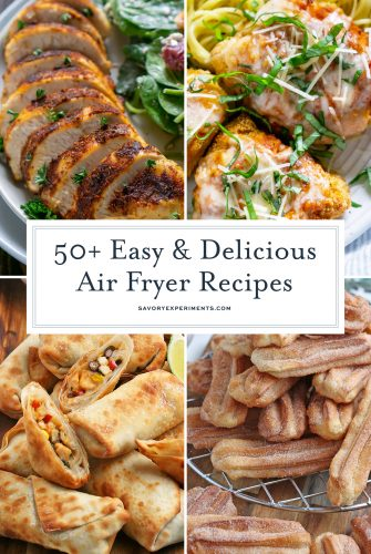 collage of easy air fryer recipes