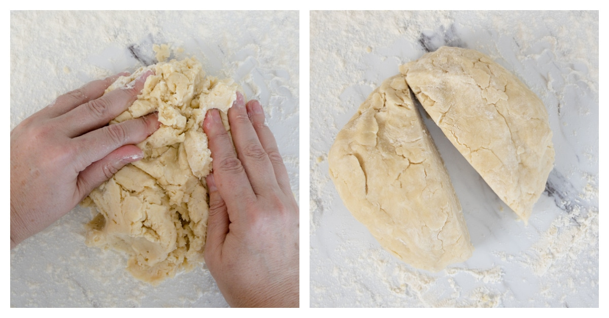 hands pushing together pie dough and dividing it in two