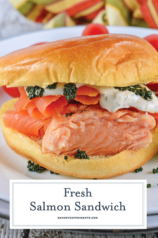 close up of fresh salmon sandwich with caviar