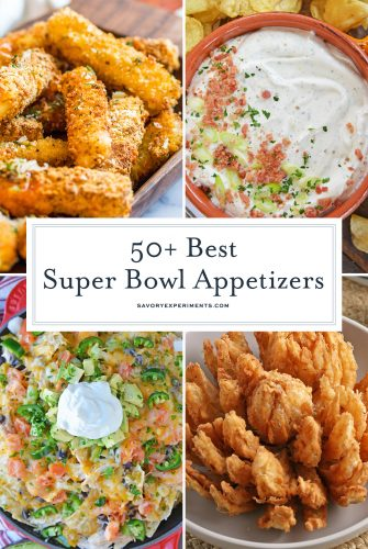 collage of super bowl appetizer recipes