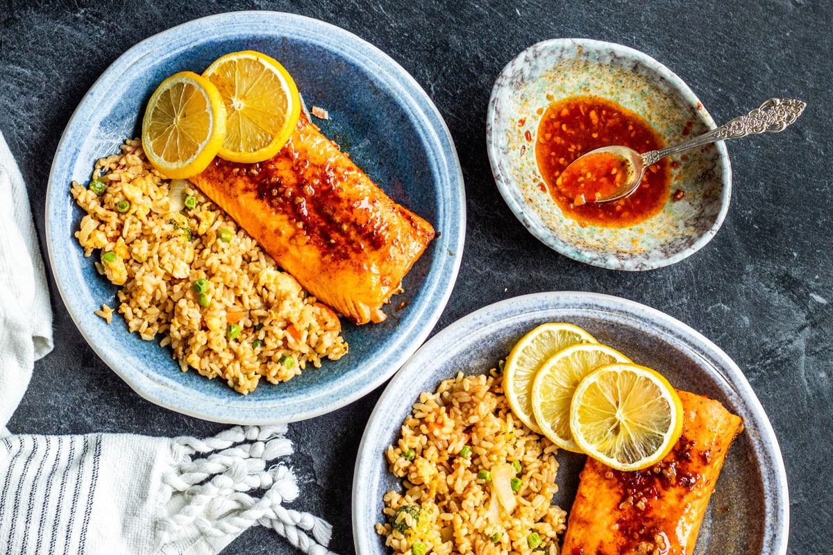 two blue dishes with air fryer salmon and fried rice