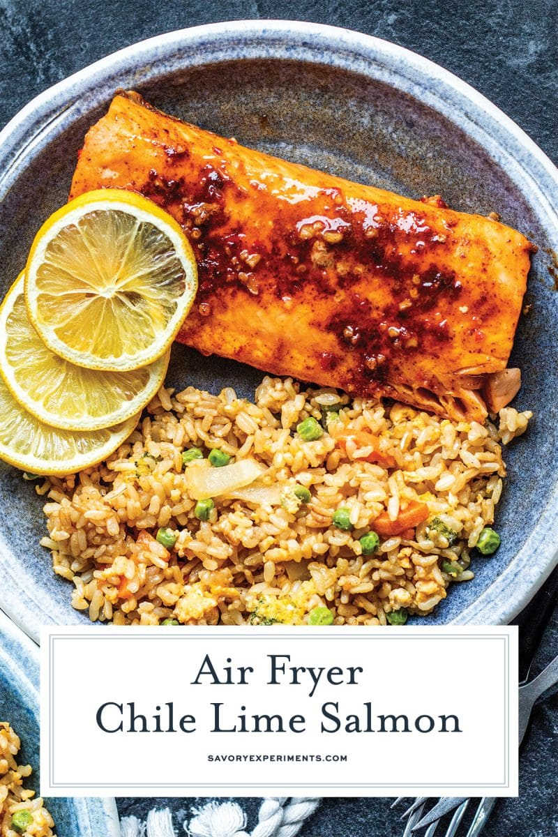 close up of air fryer salmon for pinterest