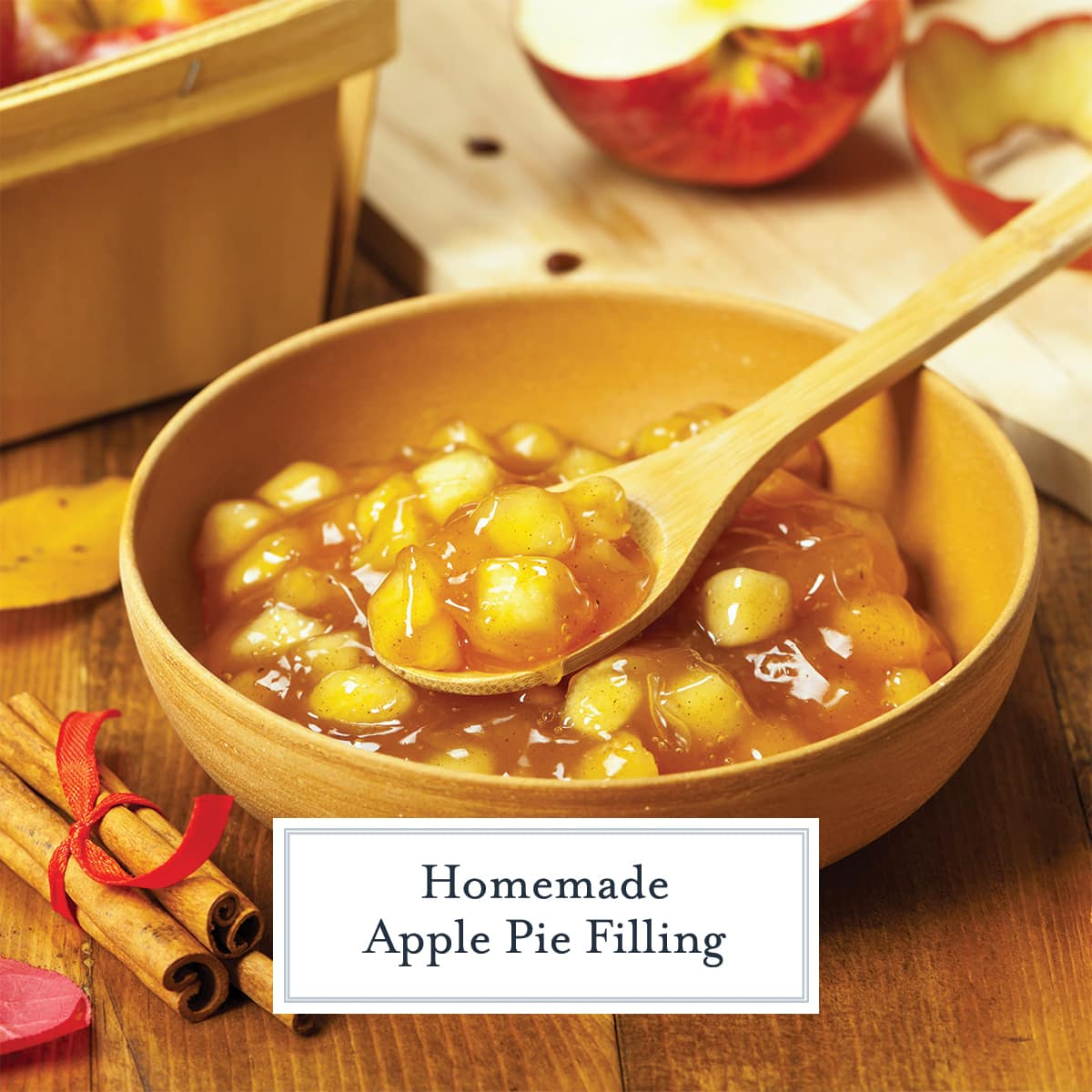 wood bowl with chopped apple pie filling and spoon
